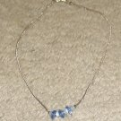 Vintage Costume Jewelry Silvertone & Bead Necklace