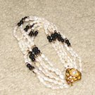 Vintage Costume Jewelry Faux Seed Pearl (white & black) Bracelet with Goldtone Rose Clasp