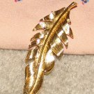 "Vintage Costume Jewelry Goldtone 3 1/2""  Leaf Pin"