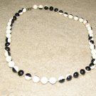 Vintage Costume Jewelry Black & White Bead Necklace