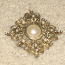 Unique Vintage Costume Jewelry Filligree Goldtone & Faux Pearl Pin