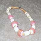 Vintage Costume Jewelry Pink & White Bead Necklace
