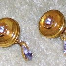 Costume Jewelry Gold tone & Rhinestone Clip On Earrings