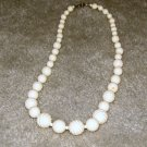 Vintage Costume Jewelry Cream Bead Necklace