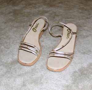Ladies Sandals with Silver and Gold Straps size 7B