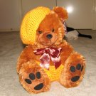 "Plush Honey Brown Bear 16"" Teddy Bear w Custom Crocheted Outfit"