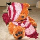 "Plush Honey Brown Bear 17"" Teddy Bear w Custom Crocheted Outfit"