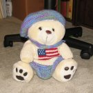 "Plush White 15"" American Teddy Bear w Custom Crocheted Outfit"