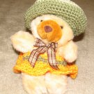 "Plush Brown Honey 12"" American Teddy Bear w Custom Crocheted Outfit"