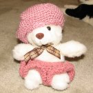"Plush Small White 12"" Teddy Bear w Custom Crocheted Outfit"