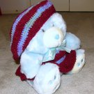 "Plush Baby Blue 20"" Teddy Bear w Custom Crocheted Outfit"