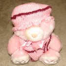 "Plush Pink 20"" Teddy Bear w Custom Crocheted Outfit"