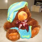 "Plush Brown 18"" Teddy Bear w Custom Crocheted Outfit"