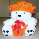 "Plush White 16"" Teddy Bear w Orange, & Green Custom Crocheted Outfit"