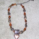 Vintage Costume Jewelry Copper, Brown & Silver Signed Necklace