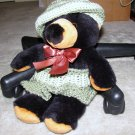 "Plush Black 15"" Teddy Bear w Custom Crocheted Outfit"