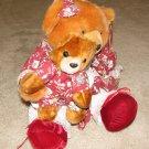 """Plush Brown 18"""" Teddy Bear w Cub"""