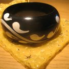 Black and white handpainted wooden bangle (£7.50)
