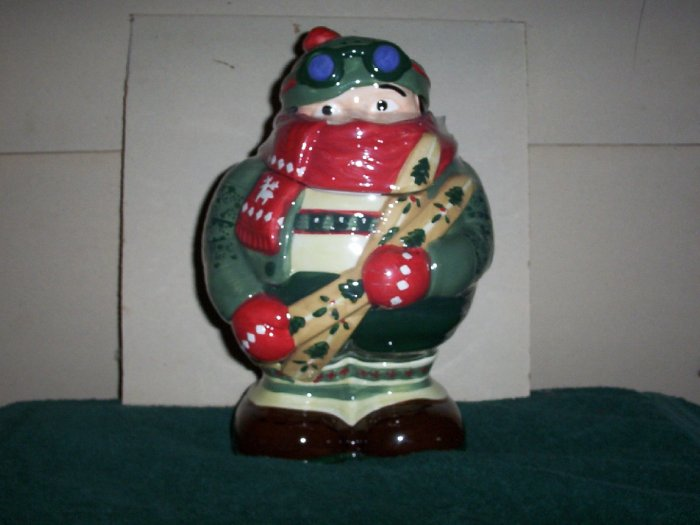 Skier Cookie Jar with Cookies
