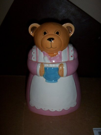 Teddy Bear in Pink Dress Cookie Jar