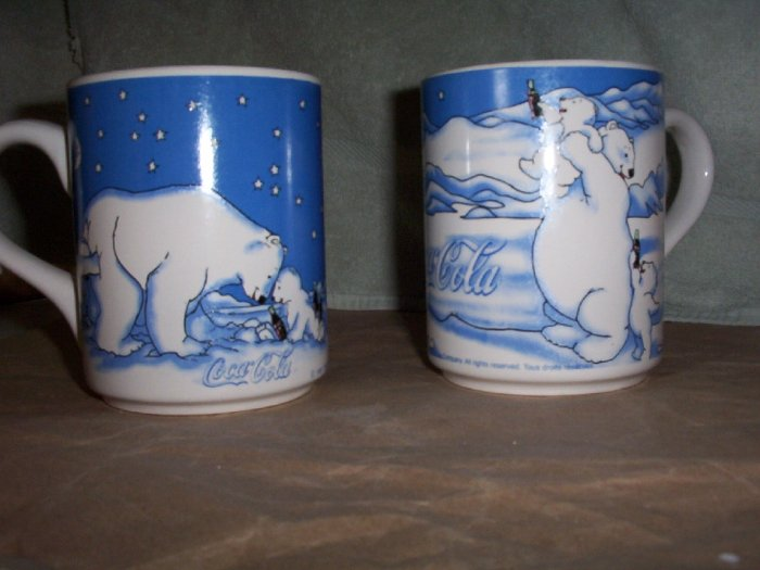 Set of 2 Coca Cola Bear Coffee Mugs