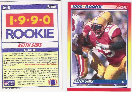 1990 Score Rookie  Keith Sims