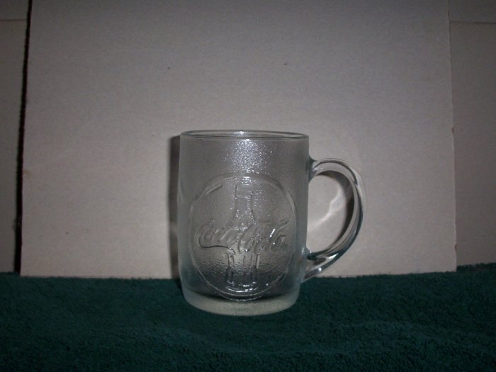 Two Coca Cola Clear Glass Mugs