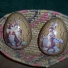 Set of 2 Decoupage Eggs in Wicker Basket