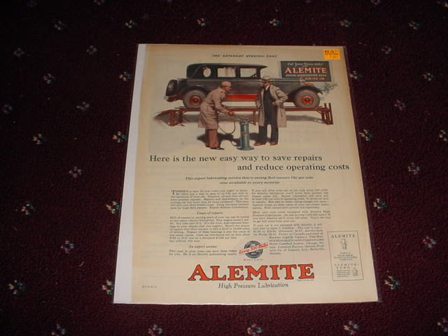1925 Alemite Lubricant ad