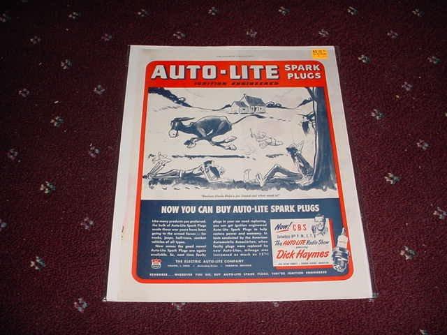 1945 Auto-Lite Spark Plug ad