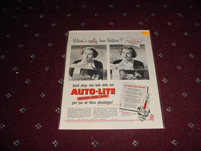 Auto-Lite Spark Plug ad with Joan Fontaine