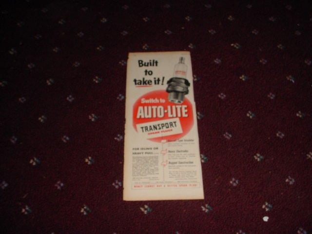1951 Auto-Lite Spark Plug ad