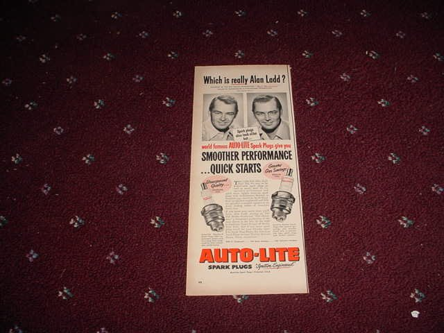 Auto-Lite Spark Plug ad with Alan Ladd