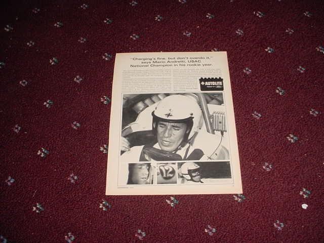 1966 Auto-Lite Spark Plug ad with Mario Andretti