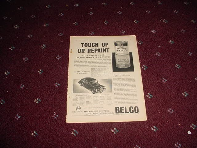 1958 Belco Automotive Paint ad from the UK