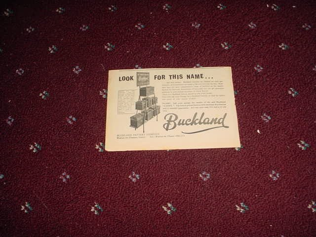 1958 Buckland Battery ad from the UK