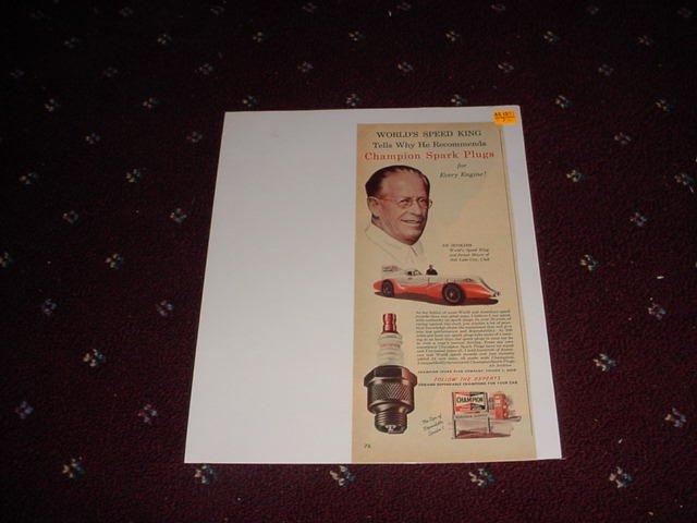 1953 Champion Spark Plugs ad featuring Ab Jenkins