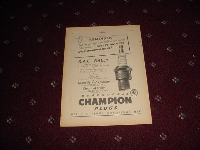 1952 Champion Spark Plugs ad from the UK