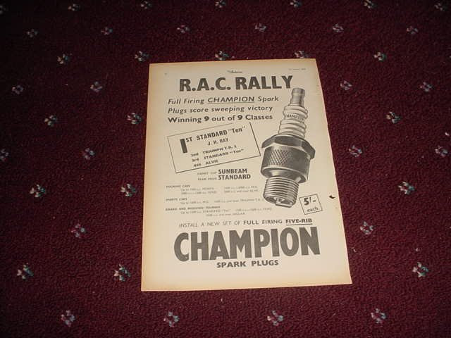 1955 Champion Spark Plugs ad from the UK