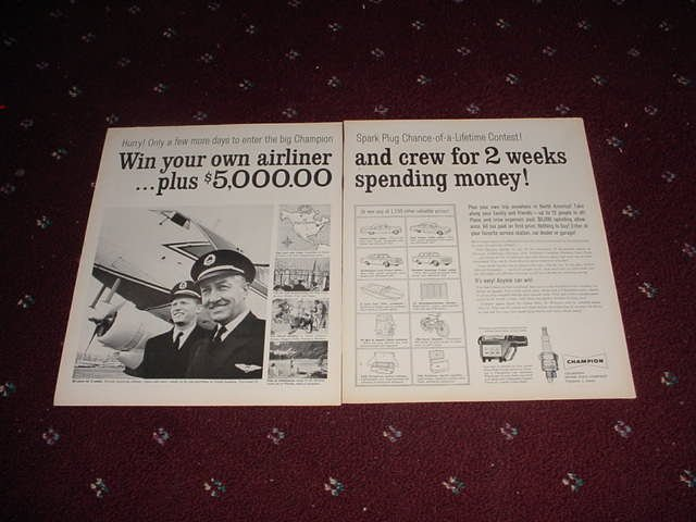 1961 Champion Spark Plugs Contest ad