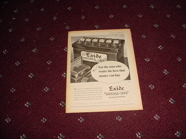 1954 Exide Battery ad from the UK