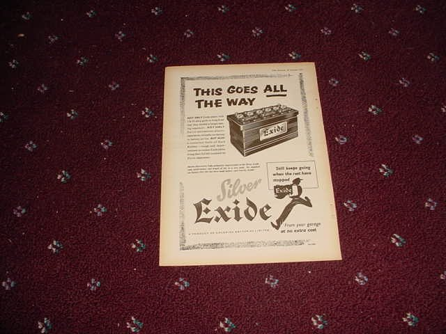 1955 Exide Battery ad #1 from the UK