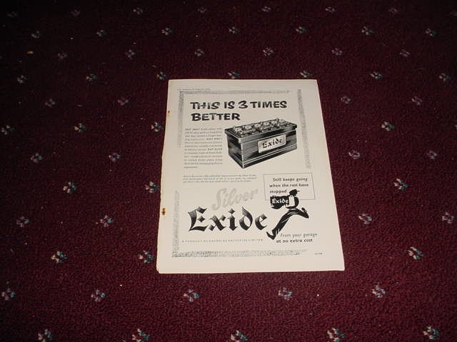 1955 Exide Battery ad #2 from the UK