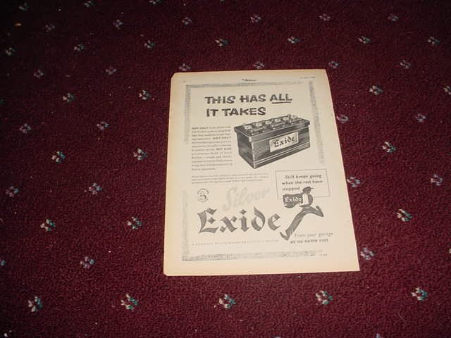 1956 Exide Battery ad from the UK