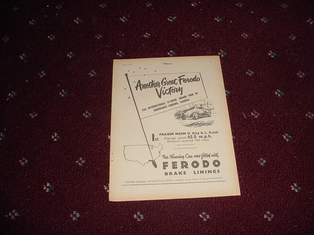 1952 Ferodo Brake Linings ad #1 from the UK