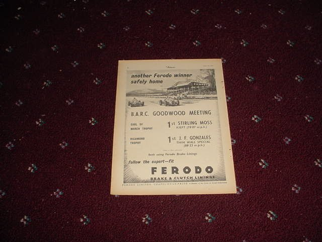 1952 Ferodo Brake Linings ad #2 from the UK