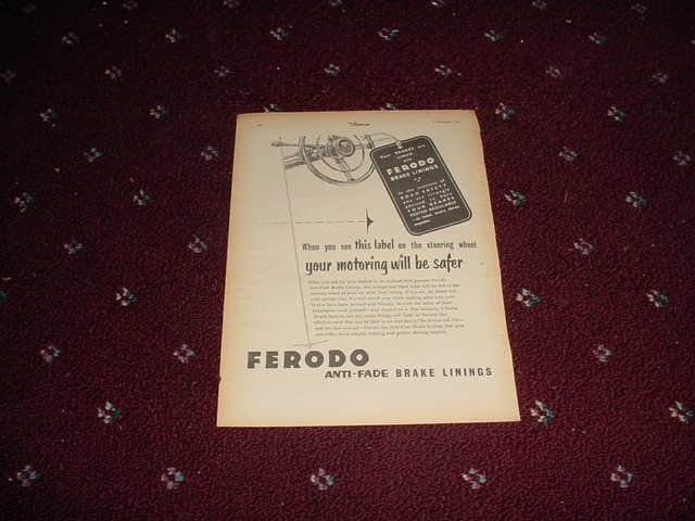 1954 Ferodo Brake Linings ad from the UK