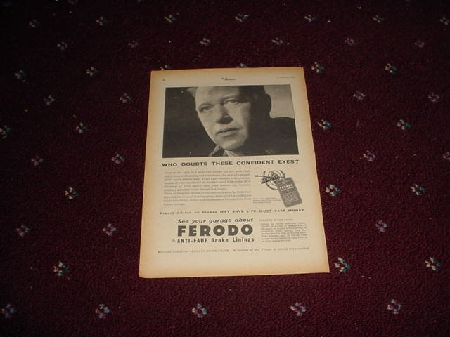 1955 Ferodo Brake Linings ad #1 from the UK