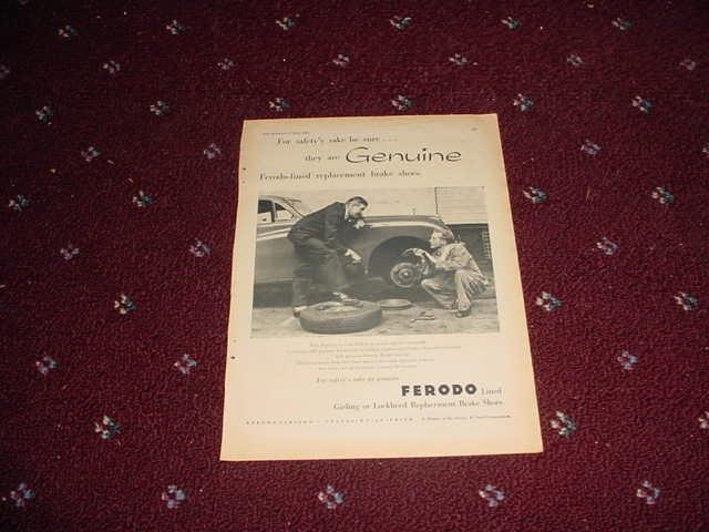 1958 Ferodo Brake Linings ad from the UK
