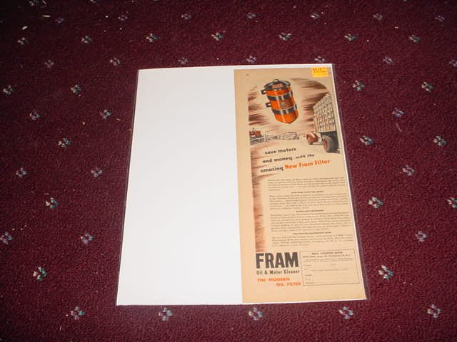 1946 Fram Oil Filter ad